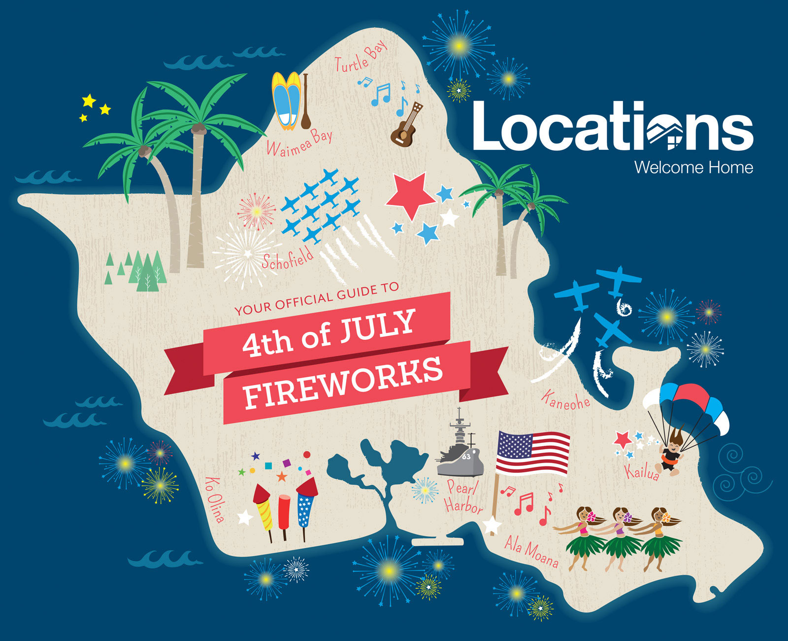 2019 4th of July Fireworks and Events Across Oahu   Locations Ko Olina Map on
